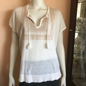 Madewell Off White Tan Embroidered Tassels Top